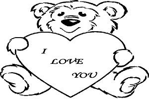 Coloriage love - Dessin nounours avec coeur ...